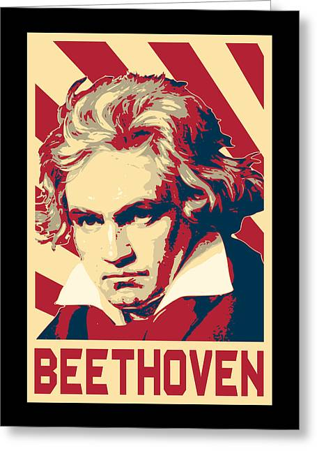 Ludwig Van Beethoven Retro Propaganda Greeting Card