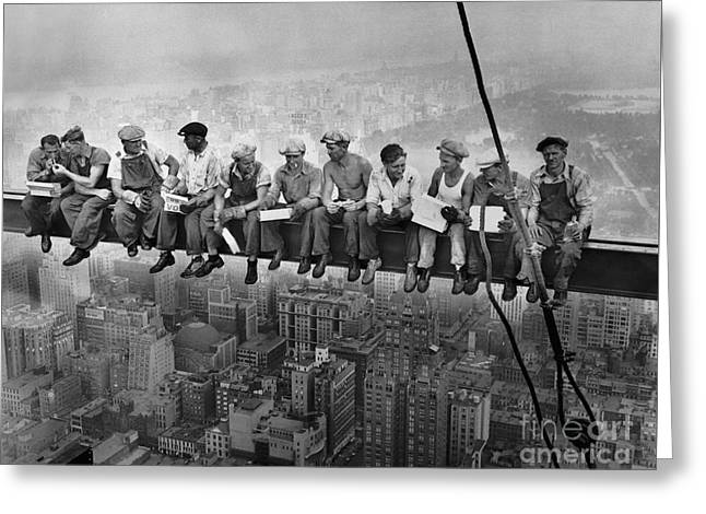 Lunch Atop A Skyscraper Greeting Card