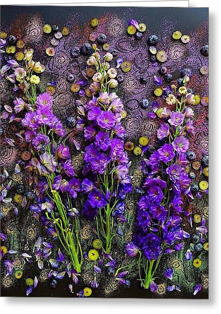 Lupine And Blueberries  Greeting Card