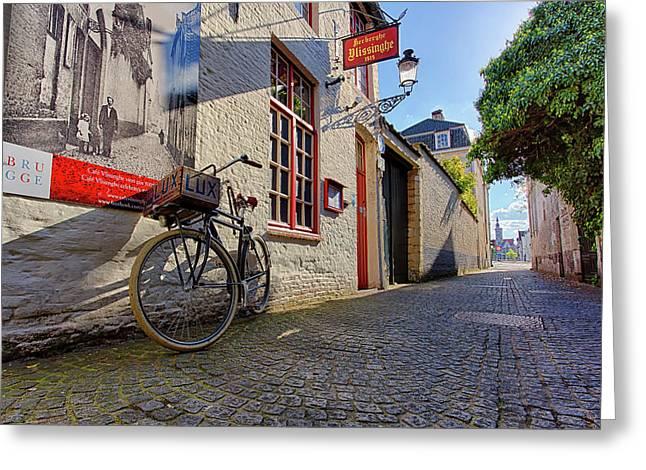 Lux Cobblestone Road Brugge Belgium Greeting Card