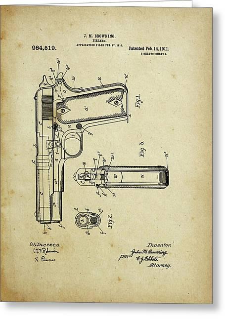 M1911 Browning Pistol Patent Greeting Card