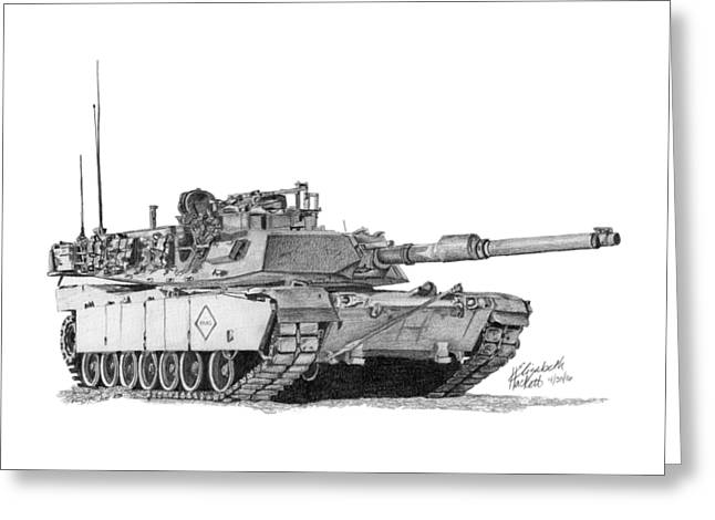 Greeting Card featuring the drawing M1a1 Battalion Master Gunner Tank by Betsy Hackett