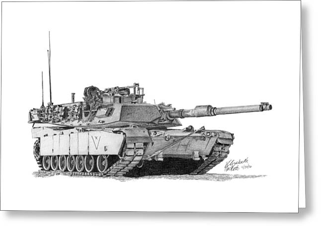 Greeting Card featuring the drawing M1a1 C Company Xo Tank by Betsy Hackett