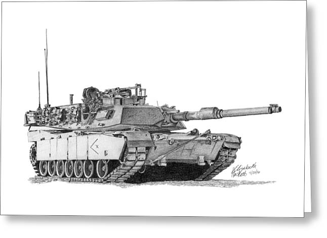 Greeting Card featuring the drawing M1a1 D Company Xo Tank by Betsy Hackett