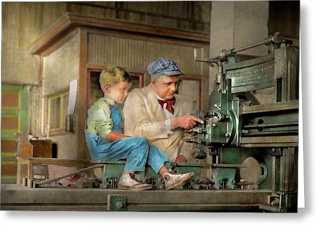 Greeting Card featuring the photograph Machinist - Spending Time With Grandpa 1921 by Mike Savad