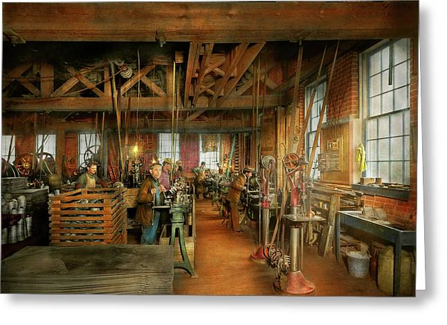 Greeting Card featuring the photograph Machinist - The Glazier Stove Company 1900 by Mike Savad