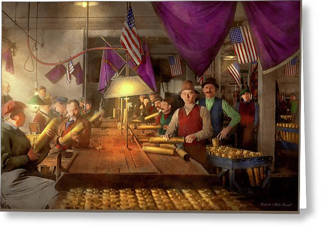 Greeting Card featuring the photograph Machinist - War - Meanwhile In The Bomb Factory 1912 by Mike Savad