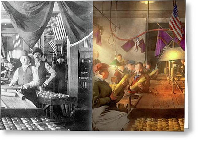 Greeting Card featuring the photograph Machinist - War - Meanwhile In The Bomb Factory 1912 - Side By Side by Mike Savad