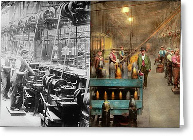 Greeting Card featuring the photograph Machinist - War - The Shell Dept 1900 - Side By Side by Mike Savad