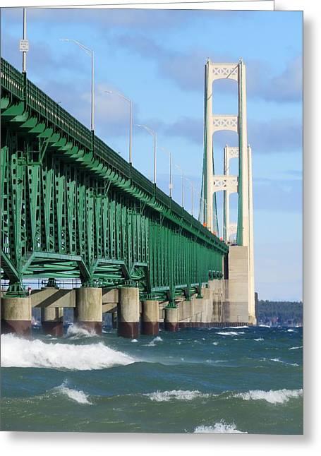 Mackinac Bridge And Waves Greeting Card