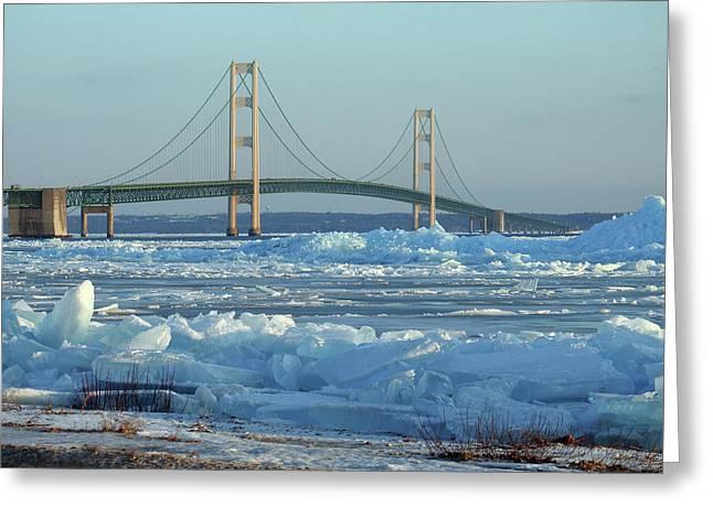 Greeting Card featuring the photograph Mackinac Bridge In Ice 2161801 by Rick Veldman