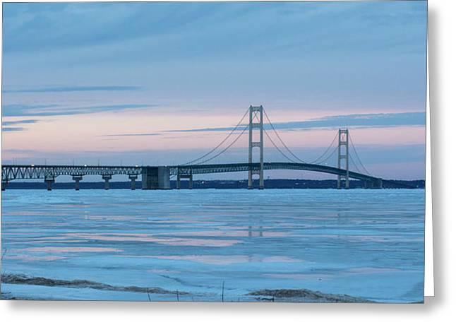 Greeting Card featuring the photograph Mackinac Bridge In Ice 2161803 by Rick Veldman