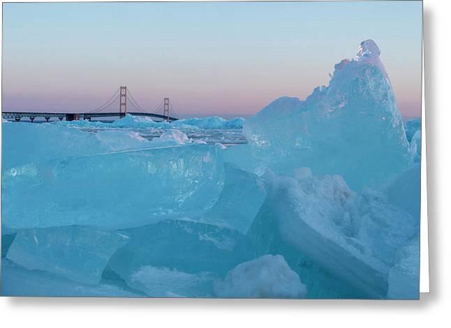 Greeting Card featuring the photograph Mackinac Bridge In Ice 2161805 by Rick Veldman