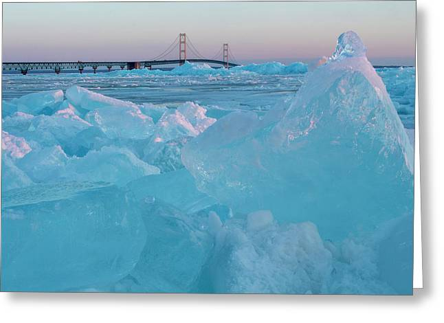 Greeting Card featuring the photograph Mackinac Bridge In Ice 2161806 by Rick Veldman