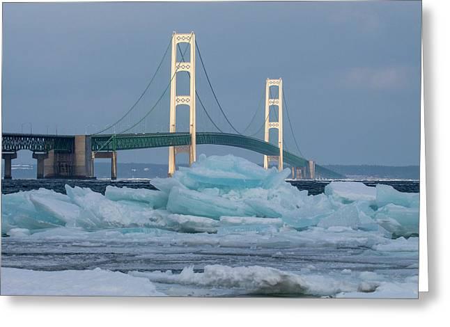 Mackinac Bridge In Ice 2161809 Greeting Card
