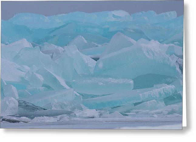 Greeting Card featuring the photograph Mackinaw City Ice Formations 21618010 by Rick Veldman