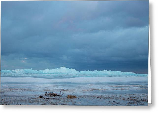 Greeting Card featuring the photograph Mackinaw City Ice Formations 21618011 by Rick Veldman