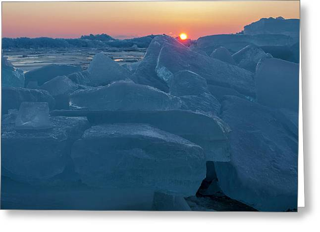 Greeting Card featuring the photograph Mackinaw City Ice Formations 21618013 by Rick Veldman