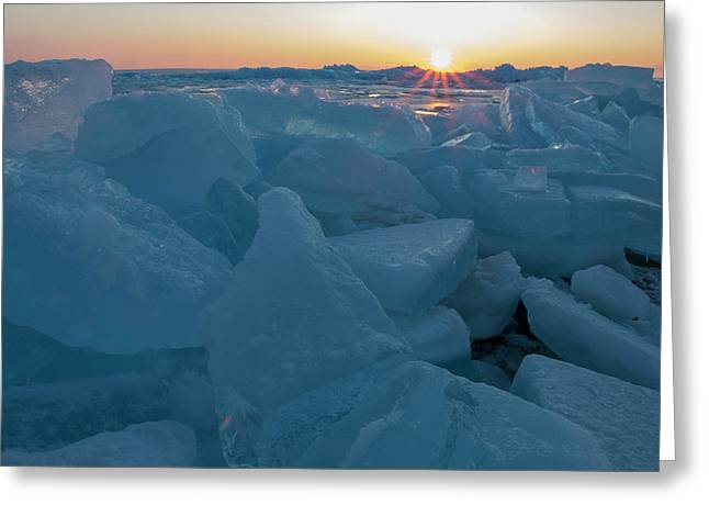 Greeting Card featuring the photograph Mackinaw City Ice Formations 21618014 by Rick Veldman