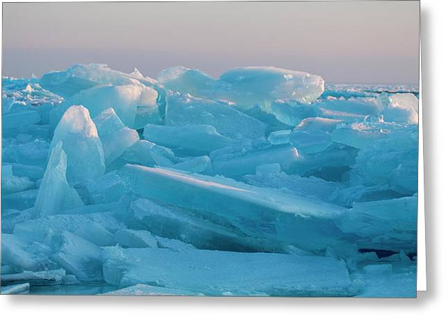 Greeting Card featuring the photograph Mackinaw City Ice Formations 2161807 by Rick Veldman
