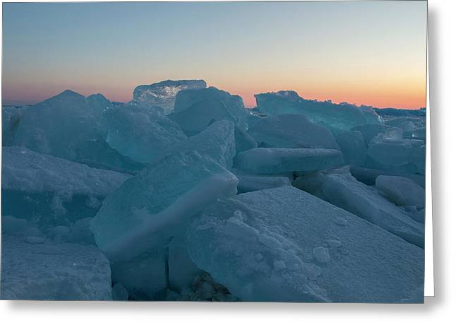 Greeting Card featuring the photograph Mackinaw City Ice Formations 2161808 by Rick Veldman