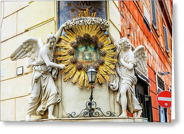 Madonna Del Archetto Angels Statues Greeting Card by William Perry