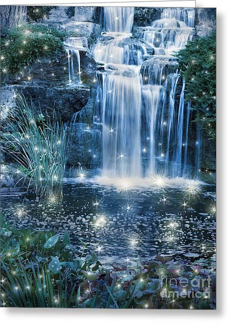 Magic Night Waterfall Scene Greeting Card