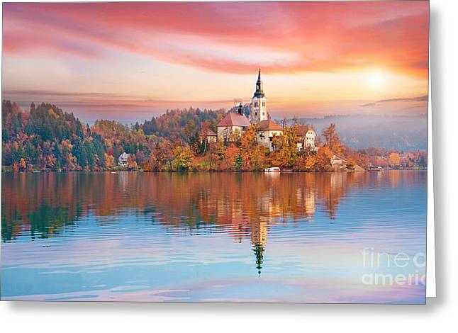 Magical Autumn Landscape With The Greeting Card