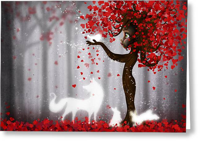 Magical Heart Tree Forest For Spirit Animals  Greeting Card