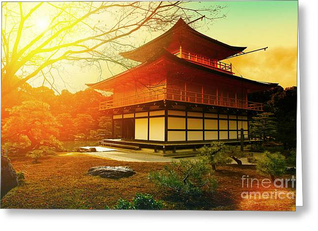 Magical Sunset Over Kinkakuji Temple Greeting Card