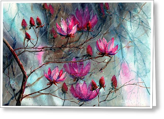 Magnolia At Midnight Greeting Card