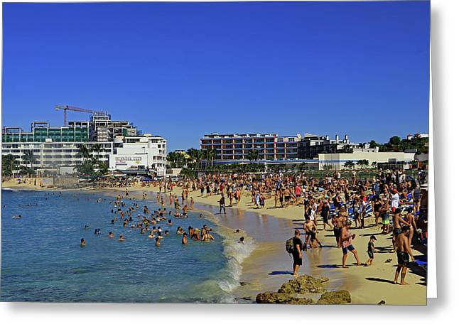 Greeting Card featuring the photograph Maho Beach by Tony Murtagh