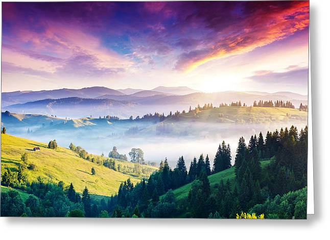 Majestic Mountain Landscape With Greeting Card