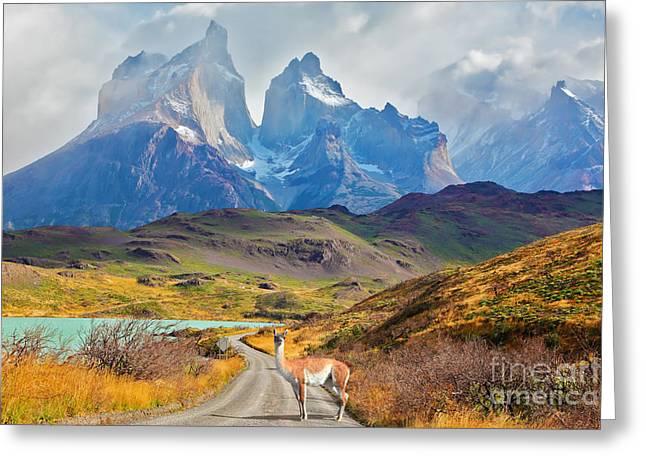Majestic Peaks Of Los Kuernos Over Lake Greeting Card