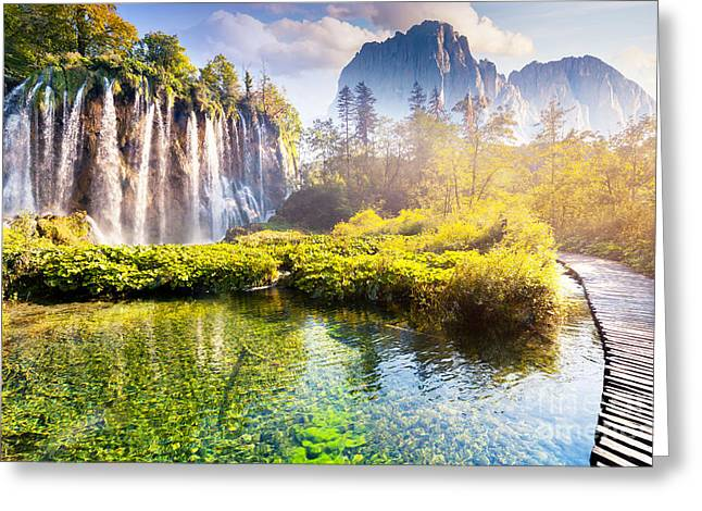 Majestic View On Waterfall With Greeting Card