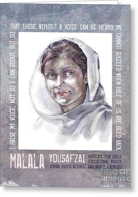 Greeting Card featuring the mixed media Malala by Lora Serra