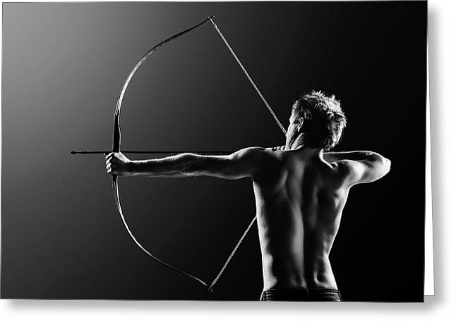 Male Archer Drawing Long Bow Greeting Card