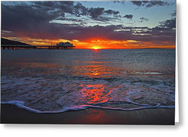 Malibu Pier Sunrise Greeting Card