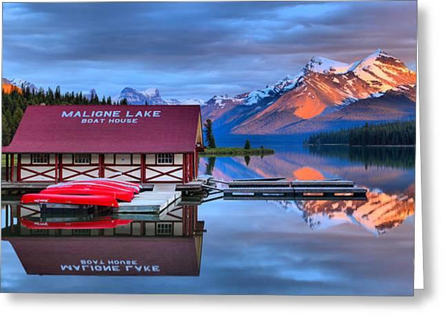 Maligne Lake Sunset Spectacular Greeting Card