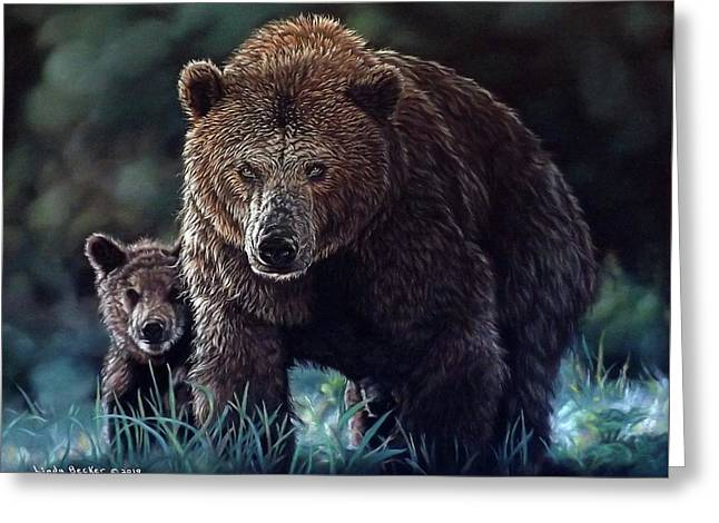 Mama Brown With Cubs Greeting Card