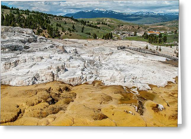 Greeting Card featuring the photograph Mammoth Hot Springs And Hotel by Matthew Irvin