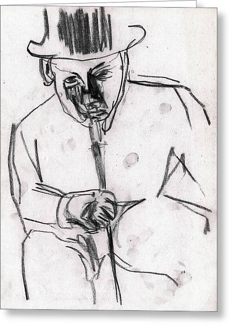 Man In Top Hat And Cane Greeting Card