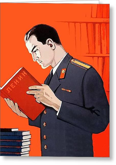 Man Is Reading Lenin Books Greeting Card