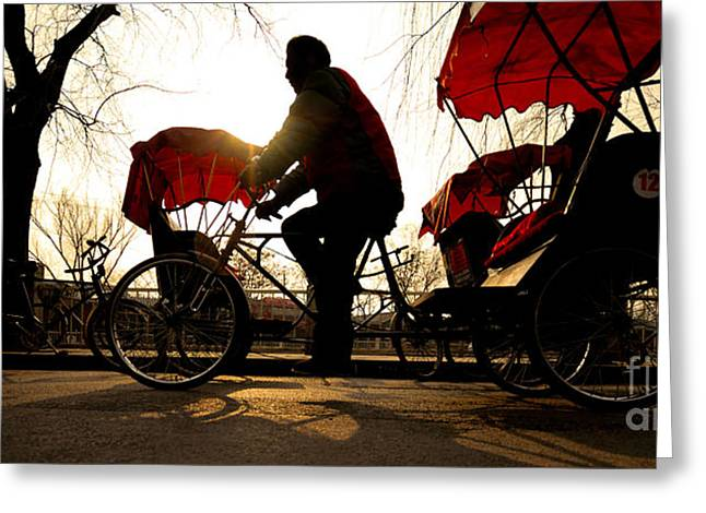 Man Riding A Rickshaw Greeting Card