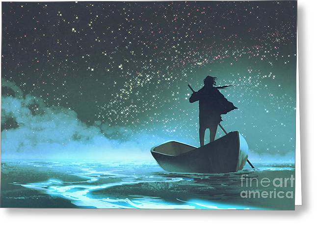 Man Rowing A Boat In The Sea Under Greeting Card
