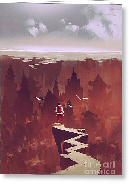 Man Standing On Rock Path Looking At Greeting Card