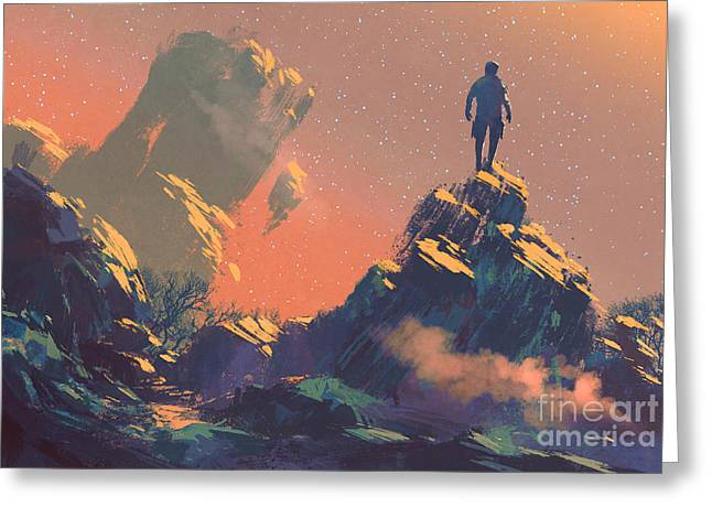 Man Standing On Top Of The Hill Greeting Card