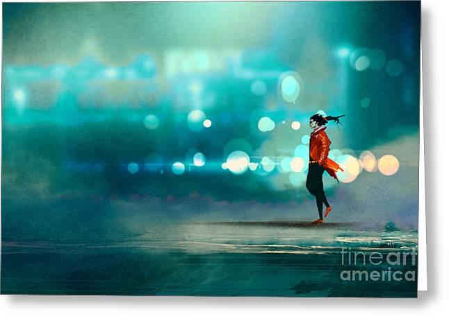 Man Walking At Night In The Greeting Card
