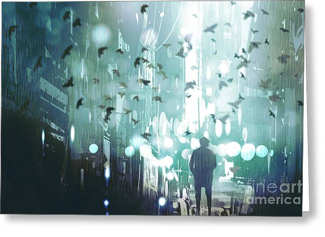 Man Walking In Abandoned City Alley Greeting Card