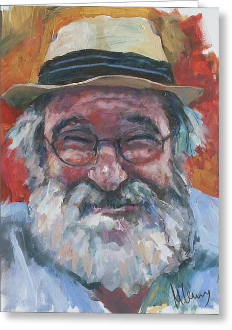 Man With Yellow Hat Greeting Card